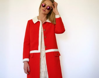 60s Lilli Ann Super Mod Red White Ribbed Knit Straight Topper Coat xs s m