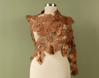Beige Shawl, Crochet Shawl, Flower Shawl, Shoulder Wrap, Lace Shawl, Crochet Lace Wrap, Spring Wedding Wrap, Bridal Shrug Shawl Bolero