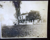 Vintage Cabinet Card Photo of Farmhouse Black & White Pic