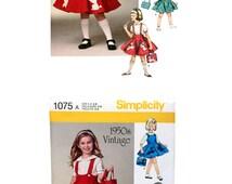 Girls Dress Pattern Girls Jumper Pattern Girls Appliqued Jumper Girls Skirt Pattern Poodle Applique Poodle Tote Bag Pattern  Simplicity 1075