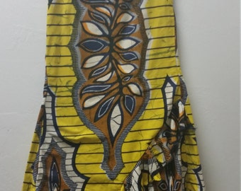 Vintage Ethnic Print Maxi Skirt with Ruffled Hem, Yellow, Blue and Orange, Size Small, #60194