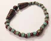 "Mahogany Obsidian, Czech Glass Bracelet for Women, Size 7.5"", Handmade Etsy Gift, Christmas, Kwanzaa, Birthday, Unique Gifts for Her, Boho"
