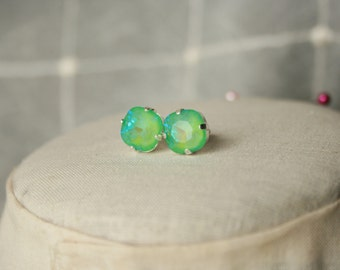 Handmade Earrings Swarovski Ultra Green Earrings Swarovski Green Earrings Swarovski Cushion Stone Green Crystal Earrings Green Post Earrings