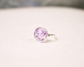 Silver Round Ring Black Glitter Ring Purple Flower Ring Round Black Rind Round Purple Ring Round Flower Ring