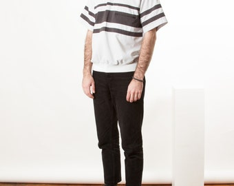 Short Sleeve Stripped Polo / Vintage Dark and Light Grey Polo / Comfy Light Polo