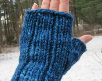 Fingerless Gloves Mitts Hand Knit Blue Very Soft Warm Wool