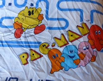 Vintage Pac Man Fitted Bed Sheet 1980's // 80's Bally Midway MFG Co Sheets