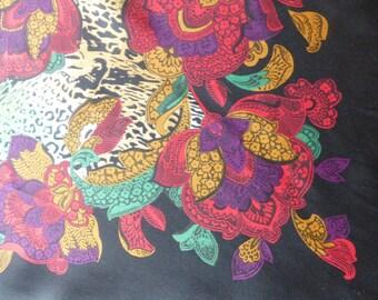 Scarf 80's Jewel Tone Animal Print/Floral design Scarf