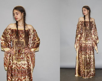 Vintage 1970s Off the Shoulder Angel Wing Paisley Ethnic Scarf Boho Hippie Festival Maxi Dress -  1970s Maxi Dress  - WD0717