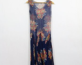 Vintage 1920s Dress / 20s Dress / Silk Dress Chiffon Dress Floral Dress Handkerchief Hem Flapper Dress Navy Blue Gatsby Picnic