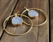 Grey Druzy Hoop Earrings/ Dangle Statement Earrings/ Druzy Grey Quartz Gemstone Gold Earrings/ Chandelier Dangle Statement Gem Boho