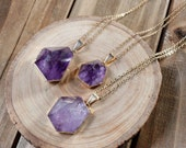 Amethyst Hexagon Pyramid Necklace/ Purple Amethyst Pendant/ Gemstone Hexagon Necklace/ Pyramid Stone Jewelry/ Gemstone Necklace (NPG40-AM)
