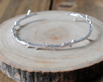 Simple Silver Branch Bangle Cuff Bracelet/ Simple Modern Silver Branch Tree Nature/ Bracelet Cuff Bangle (BMS11)
