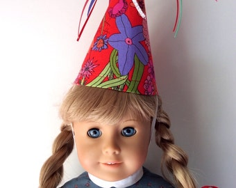 Liberty of London Fabric Party Hat-Floral Birthday Hat for Dolls and Stuffed Animals