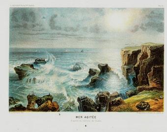 1880 Antique print,  SEASCAPE, Sea breezes on the shore, Rough sea