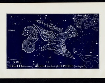 1895 Antique STARS CHART print, Sagitta, Aquila, Delphinus, Constellations. original vintage astronomy lithograph + 100 years old