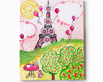 """Paris in Pink, 11""""x14"""" Acrylic Painting On Canvas, Art for Girls Room"""