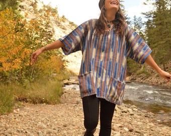 Vintage 70s Guatemalan Textile Shirt Unisex Tunic Mini Dress