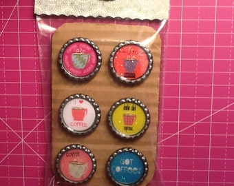 Coffee Bottlecap Magnets, 6