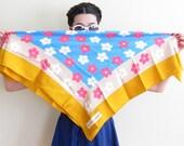 Vintage 1960s Yves Saint Laurent Scarf / 60s YSL Designer Silk Print Scarf Daisy Flowers Pop Art