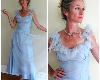 Vintage 1950s Light Blue Satin and Tulle Party Dress / 50s Ruffled Tulle Prom Dress / XS