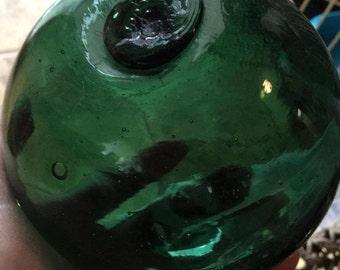 "Glass Fishing Float ~ 4"" Diameter, Norwegian Dotted F, Green"