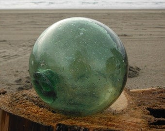 "Japanese Glass Fishing Float - 4"" diameter, Shade of Green"