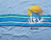 Kona Hawaii Marlin T-Shirt, Ocean Beach Life Sunset, Vintage 80s