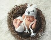 Newborn Owl Prop/ Soft Snowy Owl Newborn Set/ Crochet Owl Hat/ White Owl Set/ Sleepy Owl Hat/ Gender Neutral Prop