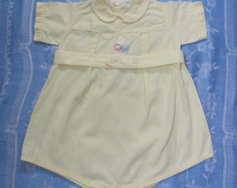 Vintage Yellow Short Sleeve Infant Toddler One Piece Romper Set