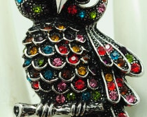 Multicolor Owl Ring/Silver/Rhinestone/Colorful/Fall/Autumn Jewelry/Animal/Bird Jewelry/Adjustable/Under  20 USD