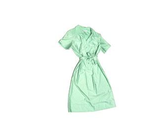vintage sea foam 70s collar button down 1970s shirt dress preppy mint green seafoam waist tie midi length classy professional office indie L
