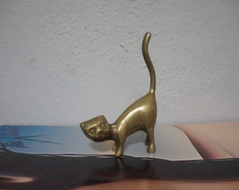 STOREWIDE CLEAROUT SALE brass cat ring holder sculpture kitty kitten cats collectible figurine knick knack gift present jewelry organizer st