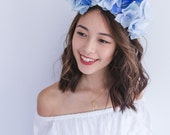 blue flower crown fascinator // statement floral headpiece headband, spring races racing carnival, wedding, flowers