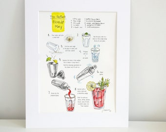 Bloody Mary Recipe - The Perfect Bloody Mary  - A Step By Step Instructional Illustration