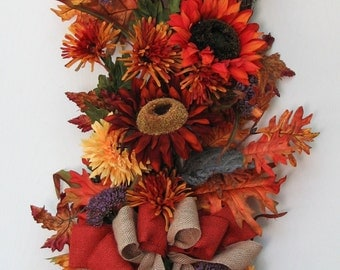 Fall Wreath – Door Hanging – Sunflower Sunset – Sunflower Swag - Door Wreath – Front Door Wreath