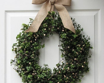 Boxwood Wreath -  Front Door Wreath - Year Round Wreath - Summer Wreath - Winter Wreath - Fall Wreath