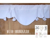 White Monogram Valance,  Window Topper, French Cantonniere, Bedroom Curtain