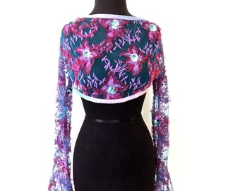 vintage lace shrug - 1940s-50s purple sequined lace cropped jacket