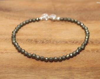 Pyrite Bracelet, Pyrite Jewelry, Fools Gold, Layering, Stacking, Gemstone Bracelet