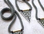 StayGoldMaryRose - Stylish 'trika' stoneware pendant on long olive green twisted cotton rope.