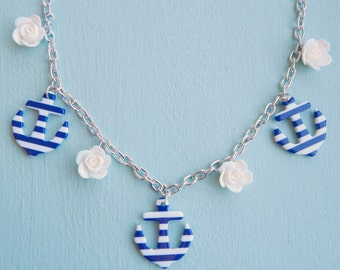 Retro Anchor Necklace, Rockabilly Blue and white Anchors and Roses, Nautical Womens Jewelry, 50s Necklace, 40s Necklace, Plastic Necklace