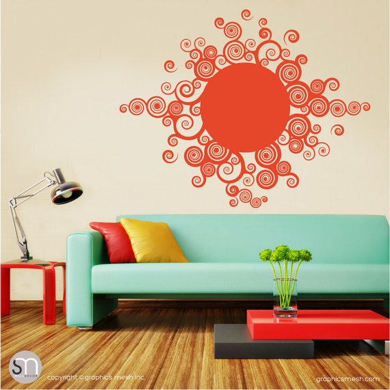 Wall decals CURLY SUN Tribal art graphics - Modern home design - Nursery interior decorating