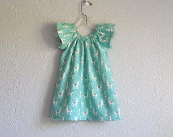 New! Girls Aqua Flannel Dress with Llamas - Aqua with White and Grey Llamas - Flutter Sleeve Dress - Size 12m, 18m 2T, 3T, 4T, 5, 6 or 8