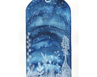 Original Painting-Starlight Wolf Song #2