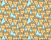 Pizza Buddies Fabric By The Yard - Cute Faced Pizza Slices Light Blue Print in Yard & Fat Quarter