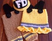 Crochet Firemen Baby Set, Firemen Helmet Pant Set, Crochet Pattern, Crochet Pattern Firemen Helmet, Firemen Pants Crochet Pattern, Baby Hat