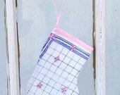 Hanky Hankie Stocking Christmas Stocking Sock Pale Blue Pink Ornament