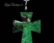 Moss Agate Cross Necklace