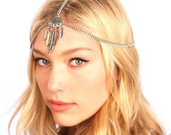 Boho Chain Headpiece / Silver Chain Headpiece / Silver Bohemian Headpiece / Kristin Perry